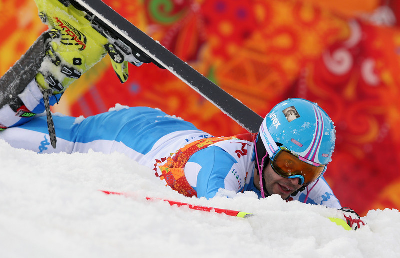 . Italy\'s Patrick Thaler crashes during the first run of the men\'s slalom at the Sochi 2014 Winter Olympics, Saturday, Feb. 22, 2014, in Krasnaya Polyana, Russia.(AP Photo/Luca Bruno)