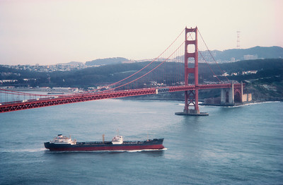 Exxon Tanker With Golden Gate Bridge San Francisco