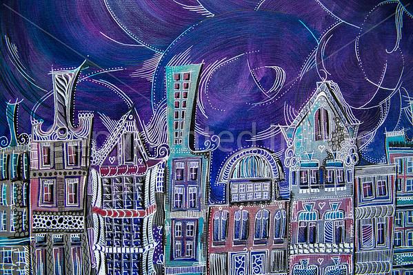 Windy Amsterdam (Acrylic on Canvas)