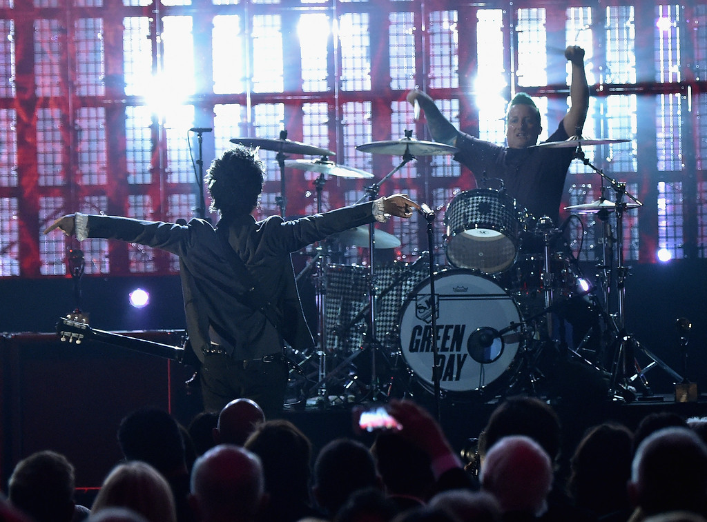 . Inductees Green Day perform onstage during the 30th Annual Rock And Roll Hall Of Fame Induction Ceremony at Public Hall on April 18, 2015 in Cleveland, Ohio.  (Photo by Mike Coppola/Getty Images)