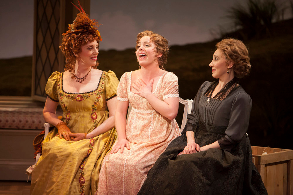 """. Left to right: Ruth Gottschall, Mary Michael Patterson and Joanna Glushak in the world premiere production of \""""Sense & Sensibility The Musical.\""""   Photo by Jennifer M. Koskinen"""