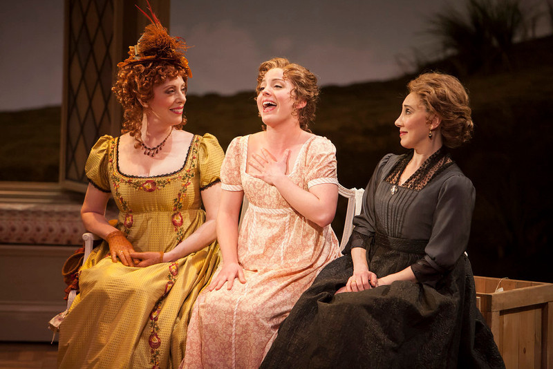 ". Left to right: Ruth Gottschall, Mary Michael Patterson and Joanna Glushak in the world premiere production of ""Sense & Sensibility The Musical.\""   Photo by Jennifer M. Koskinen"