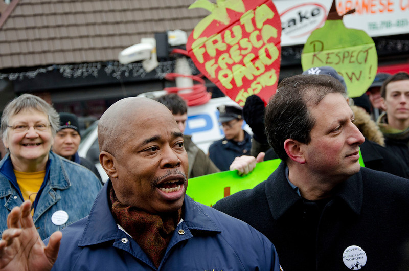 """State Senator Eric Adams (left) and Councilman Brad Lander addressed the rally and demanded fairness and a living wage for """"every worker"""" in NYC."""