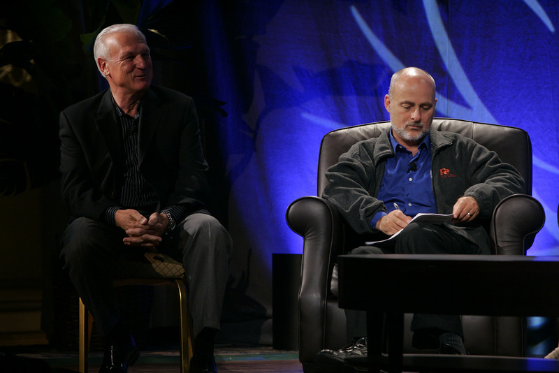 """CTO Design Challenge: """"And the Solution Is--"""": Ron Roberts (L), Supervisor, San Diego County Board of Supervisors, and moderator David Brin, author and physicist"""