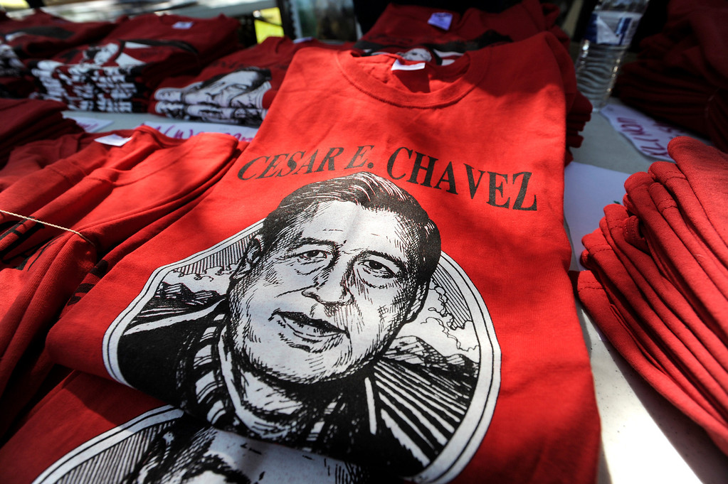 . Shirts were available for sale to people who joined in the march. Approximately 4,000 Angelinos marched 2 miles from Brand Park to Ritchie Valens Park during the Annual Cesar Chavez March for Justice. Mission Hills, CA 3/23/2013(John McCoy/Staff Photographer