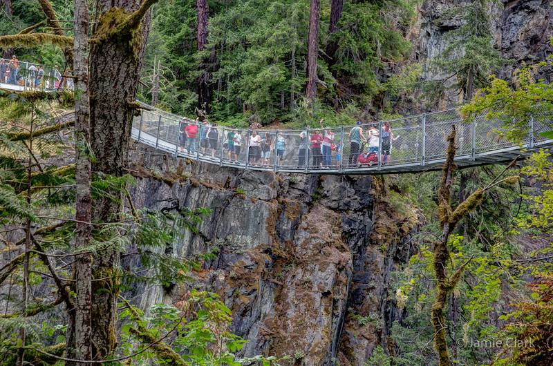 Mom and Anton on the bridge over the falls. Elk Falls Provincial Park, British Coumbia