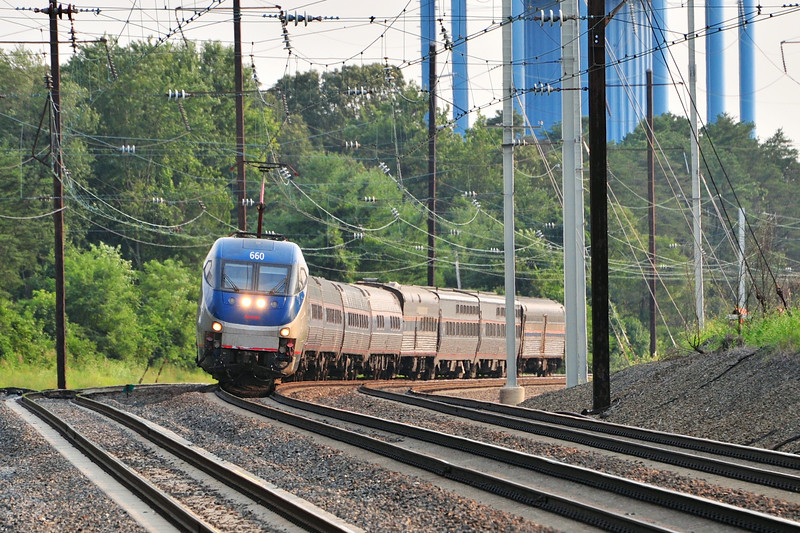 A super-tardy train 92 tries to make up lost time screaming north through Odenton
