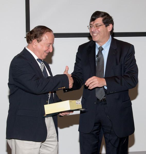 Floyd Stecker with Center Director Chris Scolese -- NASA/GSFC Career Celebration for John Mather (40 years), Floyd Stecker (50 years), and Peter Serlemitsos (55 years), Greenbelt, Nov 17, 2016.