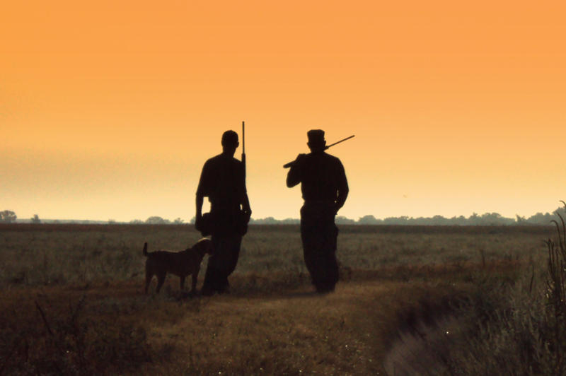 . Opening day 2012 of the dove hunting season. Two dove hunters and their dog watch the sunrise and skies for birds in south east Colorado   picture by Emily Gleason