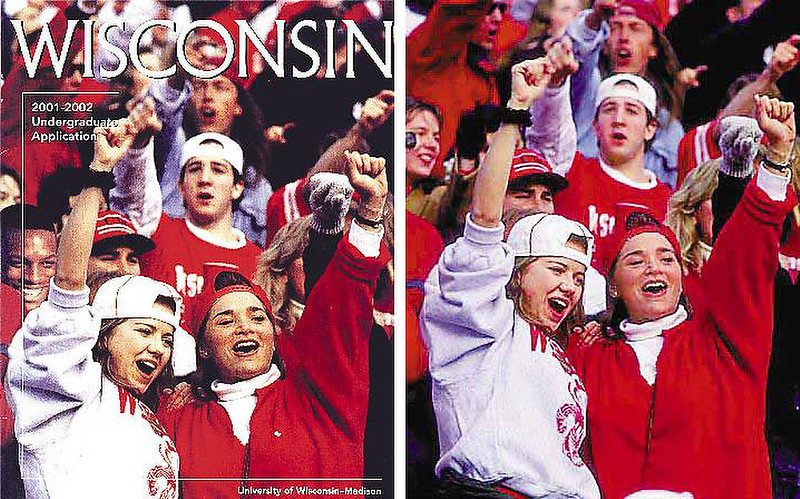 . September 2000: Hoping to illustrate its diverse enrollment, the University of Wisconsin at Madison doctored a photograph on a brochure cover by digitally inserting a black student in a crowd of white football fans. The original photograph of white fans was taken in 1993. The additional black student, senior Diallo Shabazz, was taken in 1994. University officials said that they spent the summer looking for pictures that would show the school\'s diversity -- but had no luck.   SOURCE: http://www.cs.dartmouth.edu/farid/research/digitaltampering/