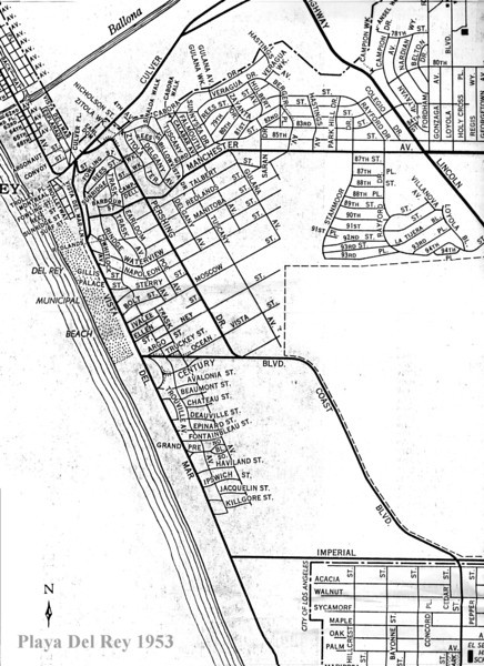 Playa Del Rey 1953 Reference map for the following images