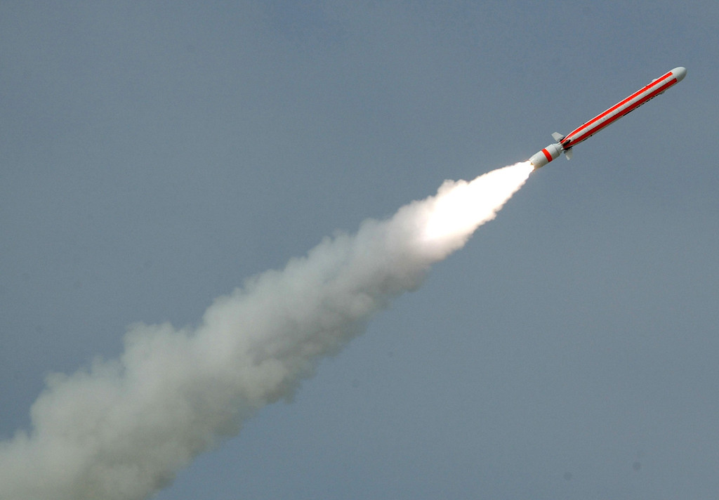 . In this photo released by the Inter Services Public Relations department shows testing of a Pakistan-made cruise missile at undisclosed location in Pakistan, Thursday, July 26, 2007. Pakistan said it successfully test-fired a cruise missile capable of delivering nuclear war heads deep into India. (AP Photo/Inter service Public Relations Department,HO)