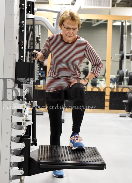 Harold Aughton/Butler Eagle: Elaine Gabal of Butler works out at the YMCA Fri., Nov. 29, 2019.