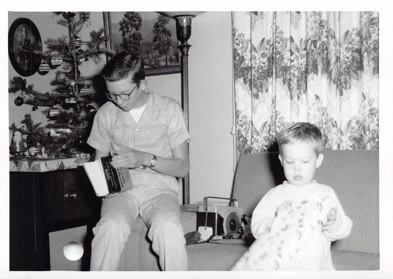 Phil, David, Christmas 1955