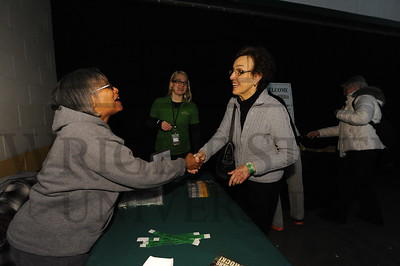 13044 Pat Jones greeting Alumni at Alumni Zone 2-5-14