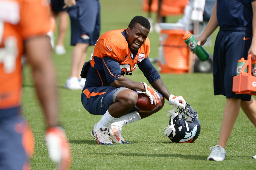 . Ronnie Hillman of Denver Broncos (23) taking a break during the Denver Broncos 2014 training camp at Dove Valley, Englewood, Colorado, August 01, 2014. (Photo by Hyoung Chang/The Denver Post)