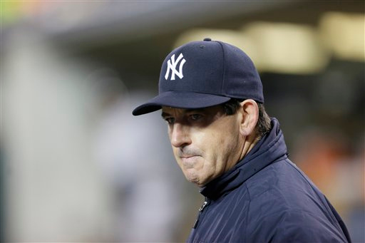. New York Yankees bench coach Rob Thomson is seen during the sixth inning of a baseball game against the Detroit Tigers, Tuesday, April 21, 2015, in Detroit. (AP Photo/Carlos Osorio)
