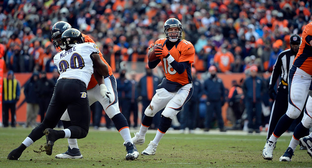 Description of . Denver Broncos quarterback Peyton Manning (18) looks for a receiver during the first quarter.  The Denver Broncos vs Baltimore Ravens AFC Divisional playoff game at Sports Authority Field Saturday January 12, 2013. (Photo by Hyoung Chang,/The Denver Post)