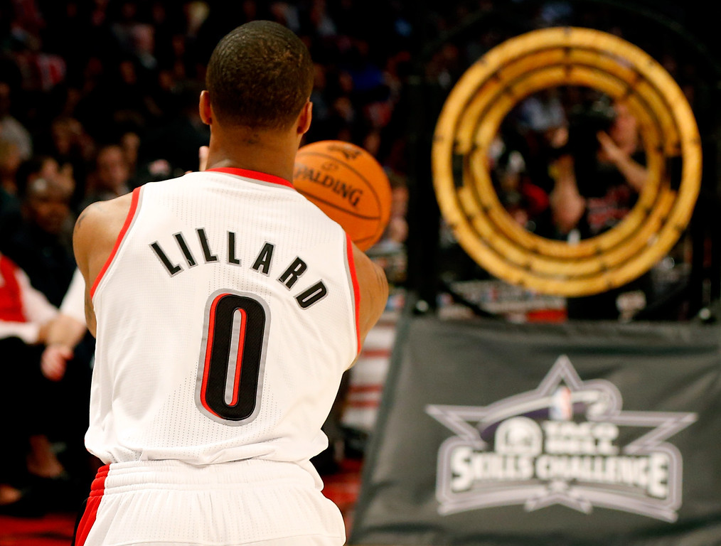 . HOUSTON, TX - FEBRUARY 16:  Damian Lillard of the Portland Trail Blazers competes in the Taco Bell Skills Challenge part of 2013 NBA All-Star Weekend at the Toyota Center on February 16, 2013 in Houston, Texas. (Photo by Scott Halleran/Getty Images)