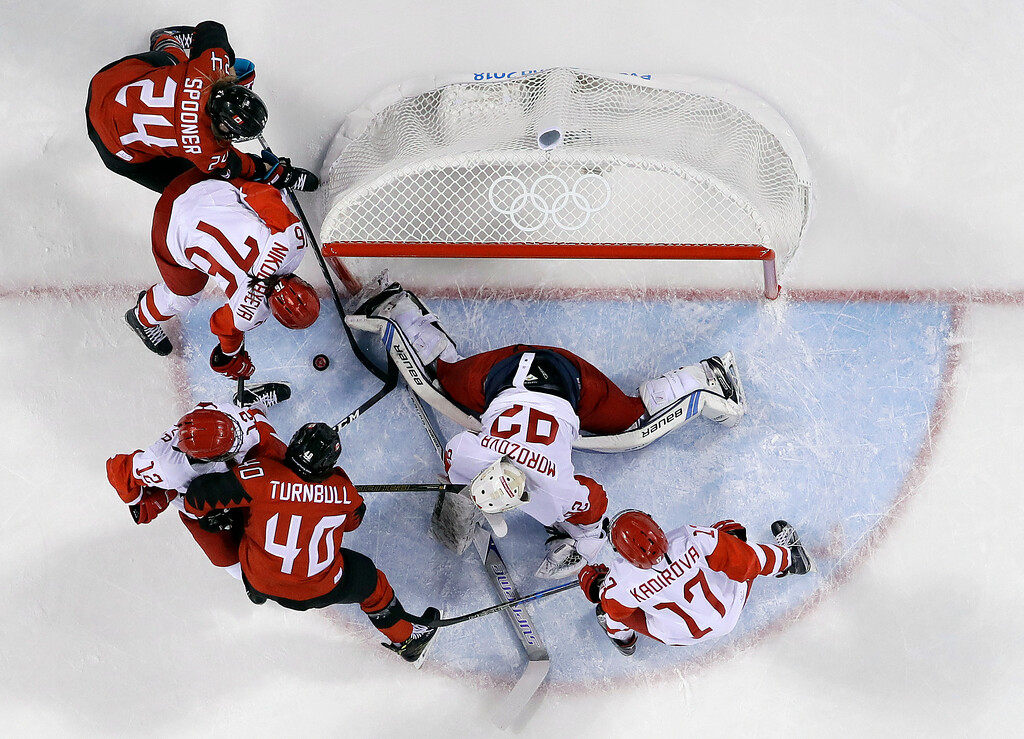 . Russian athlete Nadezhda Morozova (92) defends the goal during the first period of the preliminary round of the women\'s hockey game against Canada at the 2018 Winter Olympics in Gangneung, South Korea, Sunday, Feb. 11, 2018. (AP Photo/Kiichiro Sato)