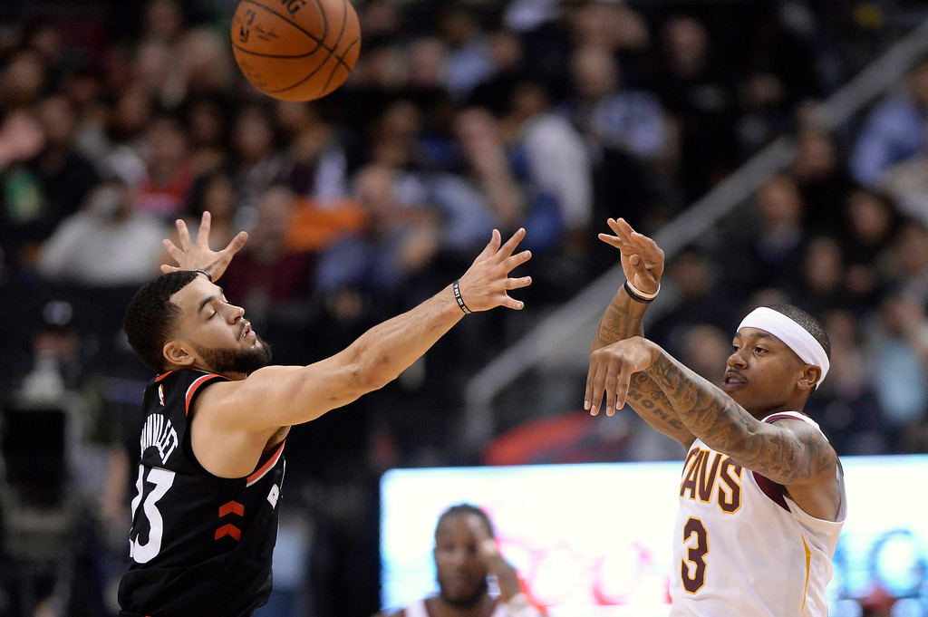 . Cleveland Cavaliers guard Isaiah Thomas (3) passes the ball past Toronto Raptors guard Fred VanVleet (23) during the first half of an NBA basketball game Thursday, Jan. 11, 2018, in Toronto. (Frank Gunn/The Canadian Press via AP)