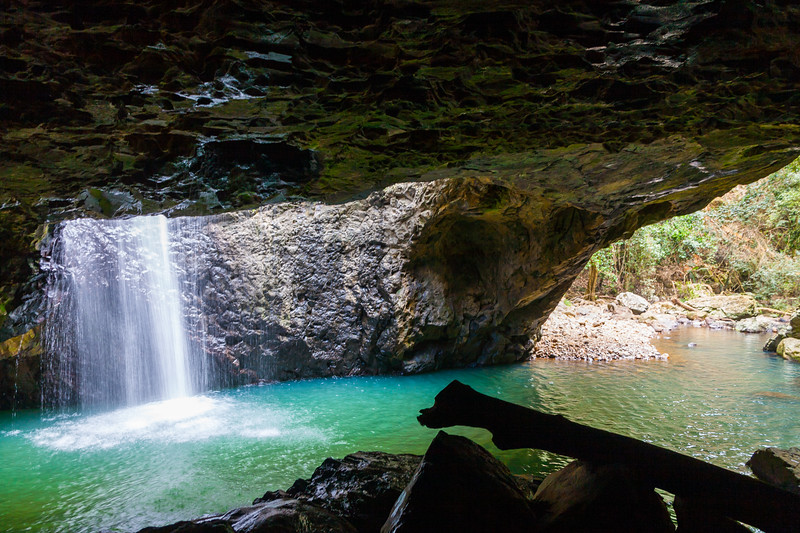 Natural Bridge waterfall inside a cave it carved out of volcanic rock - Springbrook National Park