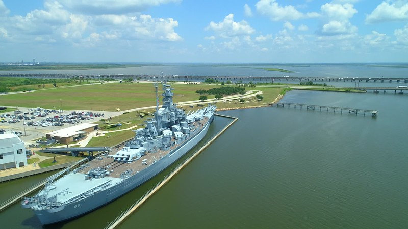 Battleship Memorial Park and the USS Alabama motion aerial footage 4k