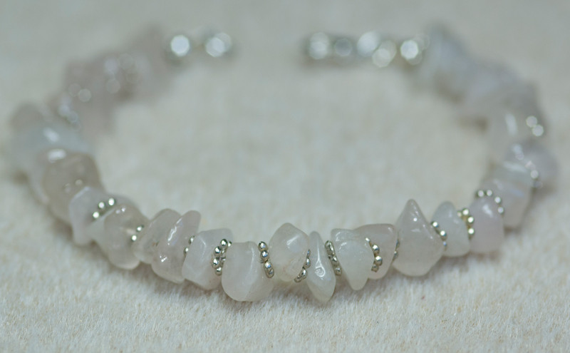 Rose Quartz chunks with Silver Beads
