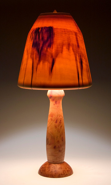 Camphor Burl Base with Traditional Shade