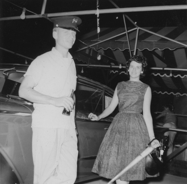 Marlene Fiske (winner of car)  with husband, Larry  1960