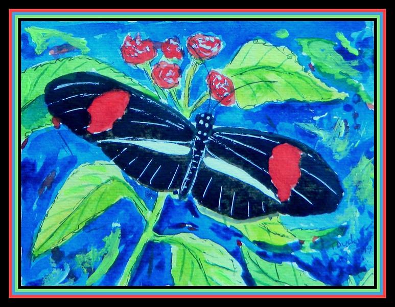 1-Heliconius erato peterivina - costa rica - 4.5x6, watercolor, acrylic & ink, jan 11, 2019.DSCN9770