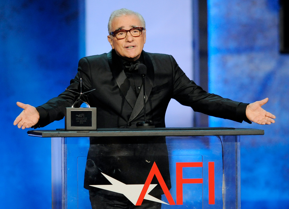 . Director Martin Scorsese addresses the audience during the American Film Institute\'s 41st Lifetime Achievement Award Gala honoring Mel Brooks at the Dolby Theatre on Thursday, June 6, 2013 in Los Angeles. (Photo by Chris Pizello/Invision/AP)