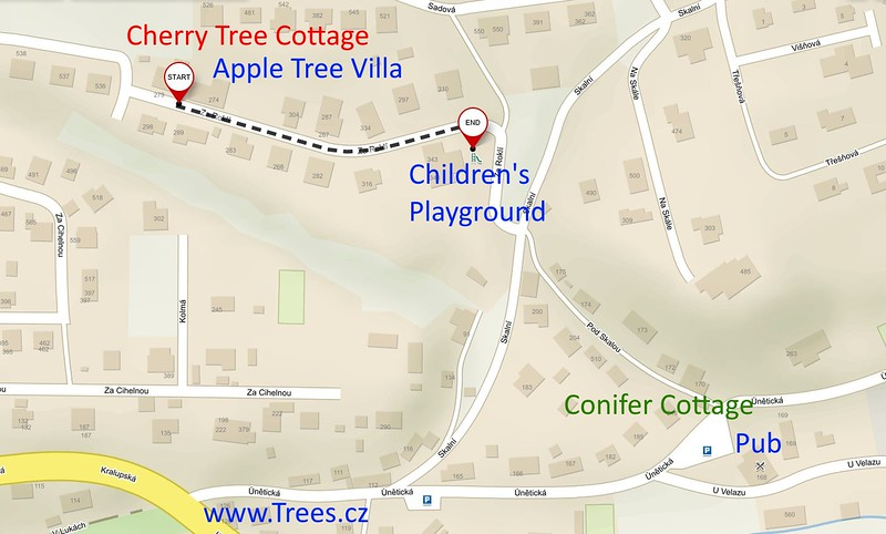 Directions from Cherry Tree Cottage to Playground