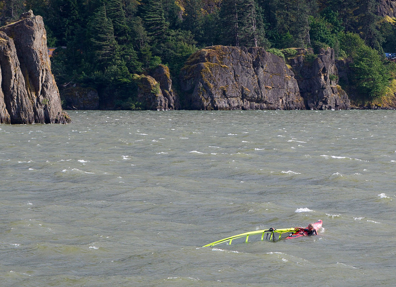 This windsurfer fell of his board and couldn't remount.  He finally made it and we didn't have to stop.