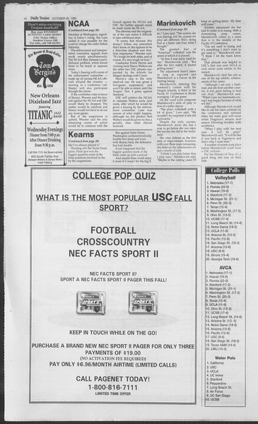 Daily Trojan, Vol. 126, No. 39, October 26, 1995