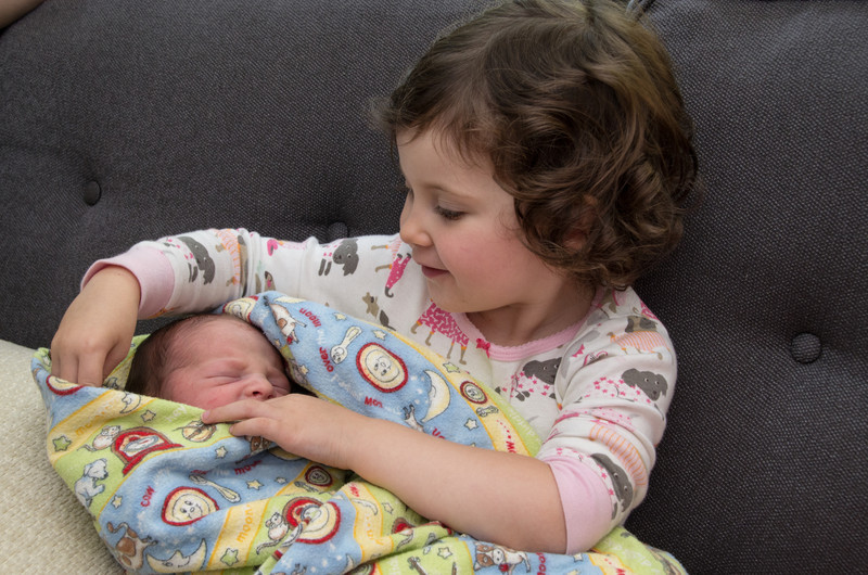 Holly with her new brother Bennett less than 24 hours after he was born.  Image taken by Maggie.