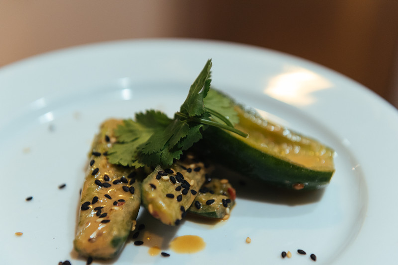 smashed cucumbers with sesame and fermented bean