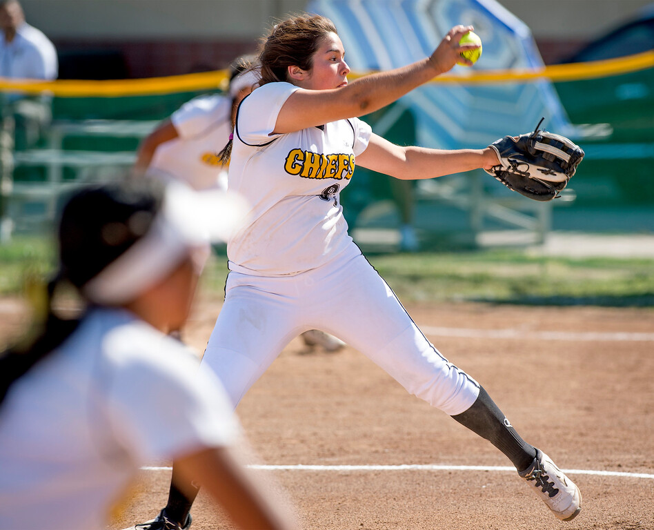 . Santa Fe High pitcher Carly Gutierrez vs California High at the Santa Fe Springs campus field May 13, 2014.   (Staff photo by Leo Jarzomb/Whittier Daily News)