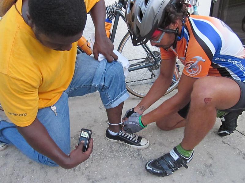 2010 08-01  Strip of Millard Fuller handkerchief for each rider.   ky