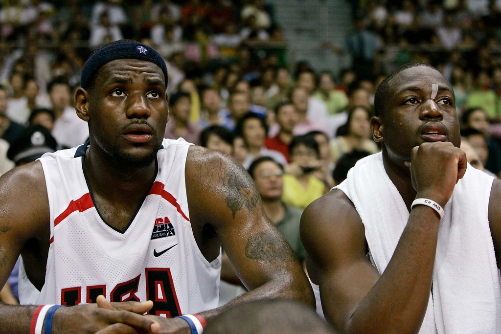 . USA\'s LeBron James of the Cleveland Cavaliers, left, and USA\'s Dwyane Wade of Miami Heat, react  during a match against Brazil in the China Basketball Challenge at a stadium in Guangzhou, China\'s southern Guangdong province Tuesday, August 8, 2006. US won 90-86.  (AP Photo/Kin Cheung)
