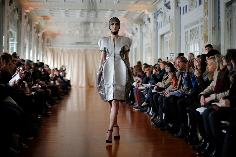 . A model wears a creation for Corrie Nielsen\'s  ready-to-wear fall/winter 2014-2015 fashion collection presented in Paris, Tuesday, Feb.25, 2014. (AP Photo/Jerome Delay)