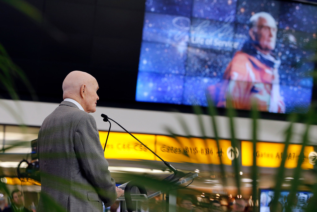 . Former U.S. Sen. John Glenn speaks during a celebration for the renaming of Port Columbus International Airport to John Glenn Columbus International Airport Tuesday, June 28, 2016, in Columbus, Ohio. Senate Bill 159, which changes the name of the airport, goes into effect in September. (AP Photo/Jay LaPrete)