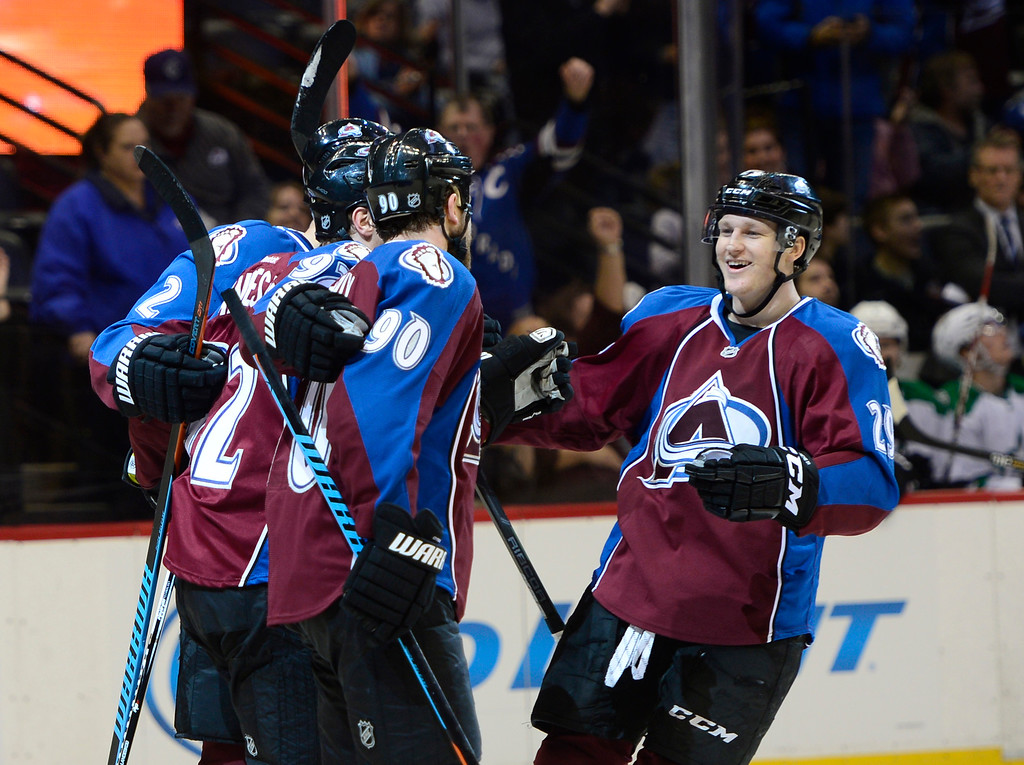 . Colorado Avalanche players celebrate after their score during the first period Saturday, February 14, 2015 at the Pepsi Center in Denver, Colorado. (Photo By Brent Lewis/The Denver Post)
