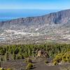 La Palma - Blick in das Aridanetal und auf die Caldera de Taburiente vom astronomischen Aussichtspunkt - Mirador Astronómico del Llano del Jable - an der LP301