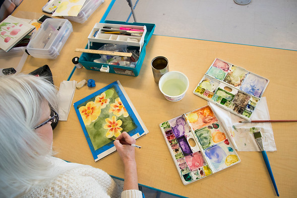 01/29/20 Wesley Bunnell | StaffrrStudent Kate Robertson puts the finishing touches on her painting during instructor Mary Smeallie's water color class at the New Britain Museum of American Art on Wednesday January 29th, 2020.