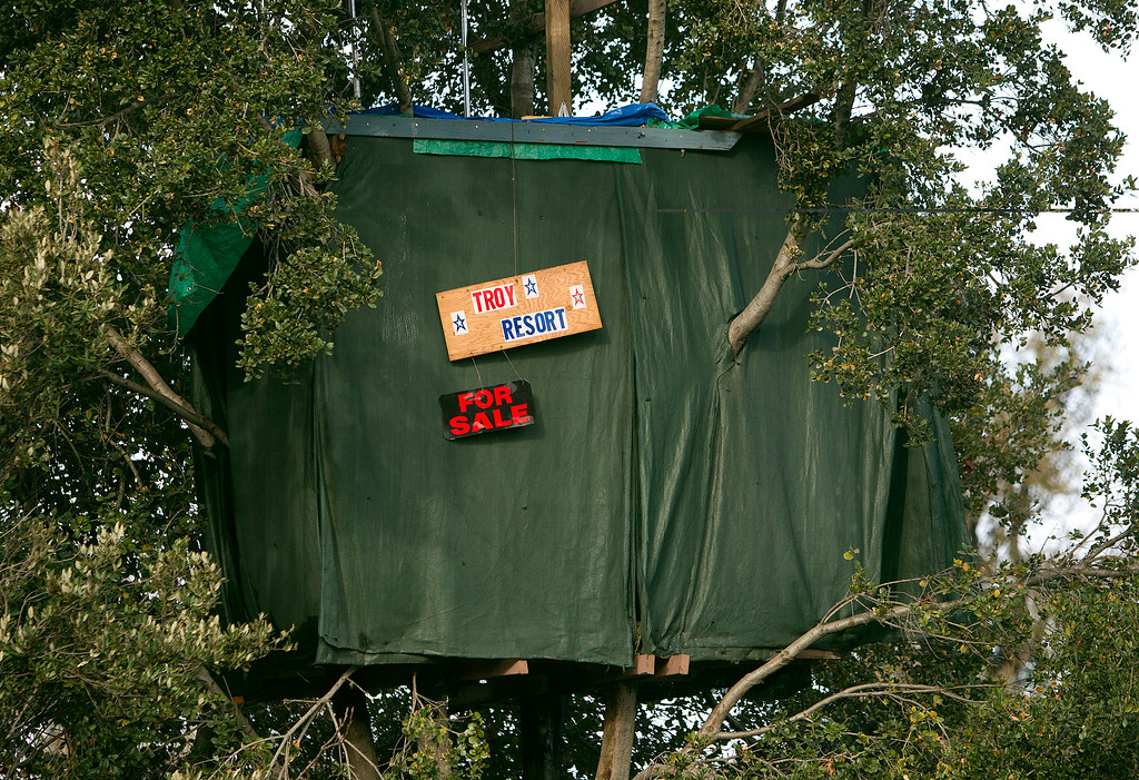 . Troy\'s treehouse is abandoned in the homeless encampment known as The Jungle in San Jose, Calif., on Thursday, Dec. 4, 2014. (LiPo Ching/Bay Area News Group)