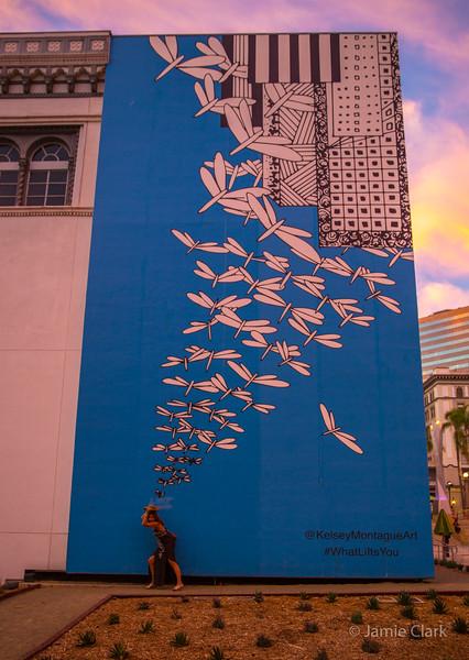 No escaping the dragon flies at Horton Plaza.  San Diego - September 2016