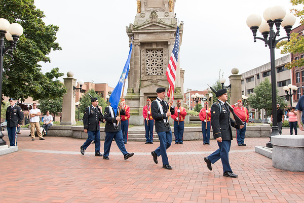 09/11/18 Wesley Bunnell | Staff New Britain unveiled its newest monument in Central Park which is dedicated to the War on Terror following the 9/11 attacks. The CT Air National Guard with the Posting of the Colors.