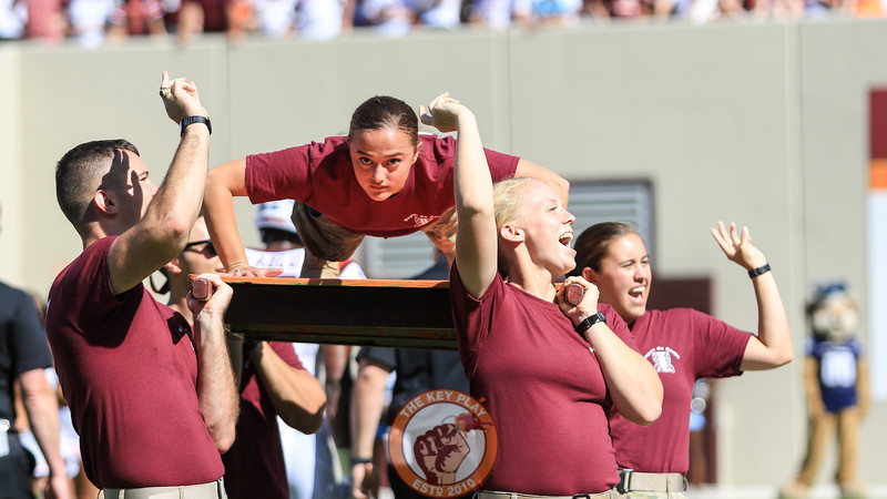 A cadet does a pushup for each Virginia Tech point scored so far after the touchdown. (Mark Umansky/TheKeyPlay.com)