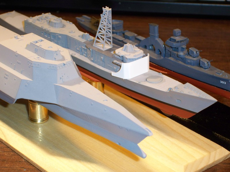 """101018 FFG-7 fwd deckhouse bulkhead replacement: Trial fit (.010"""" plasticard). Note hull anti-fouling (Red spray primer)."""